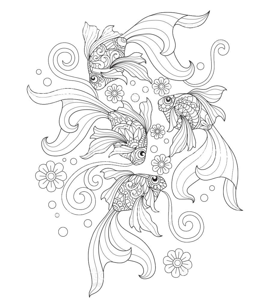 Tranh tô màu đàn cá vàng cực đẹp