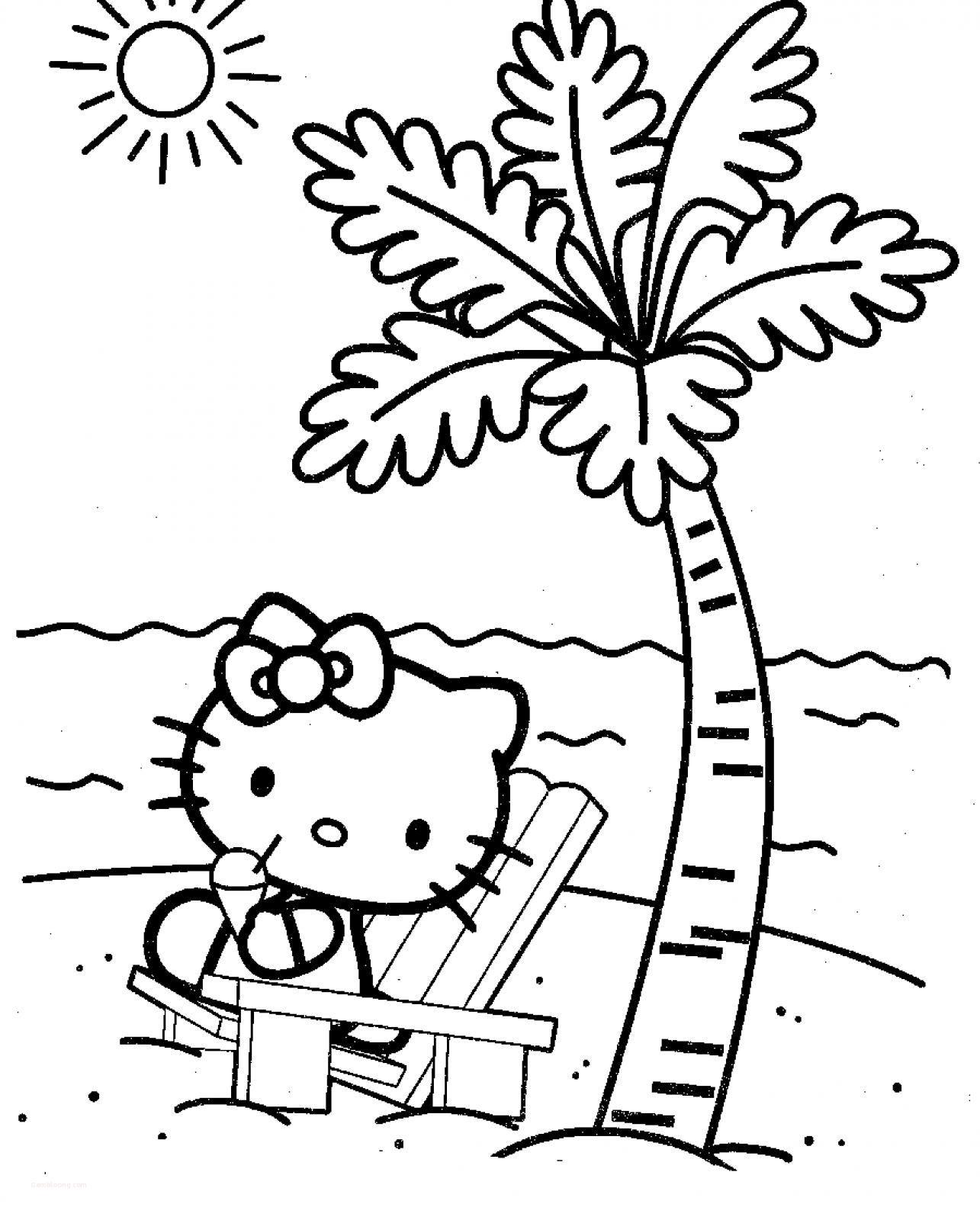 Tranh tô màu mèo Hello Kitty và cây dừa