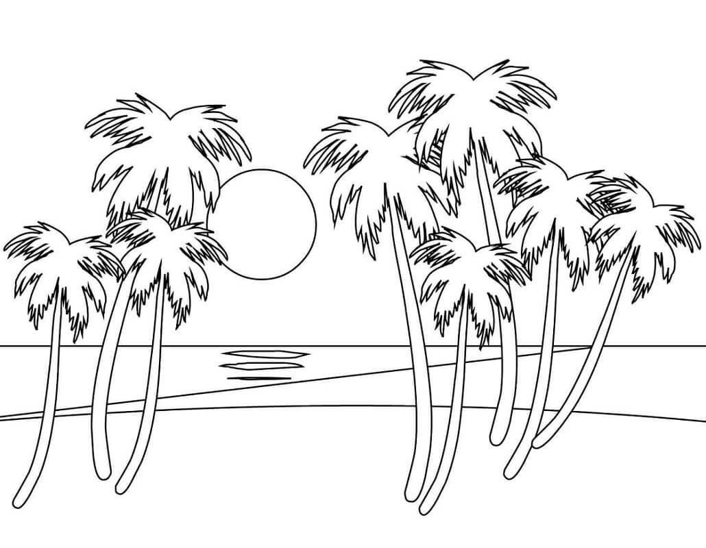 Tranh tô màu những cây dừa bên bờ biển