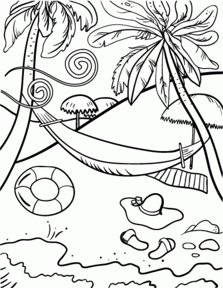 Tranh tô màu những cây dừa và bãi biển
