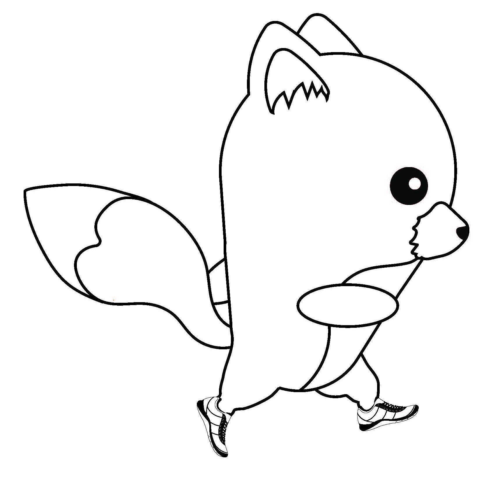 Tranh con cáo hoạt hình dễ thương tô màu