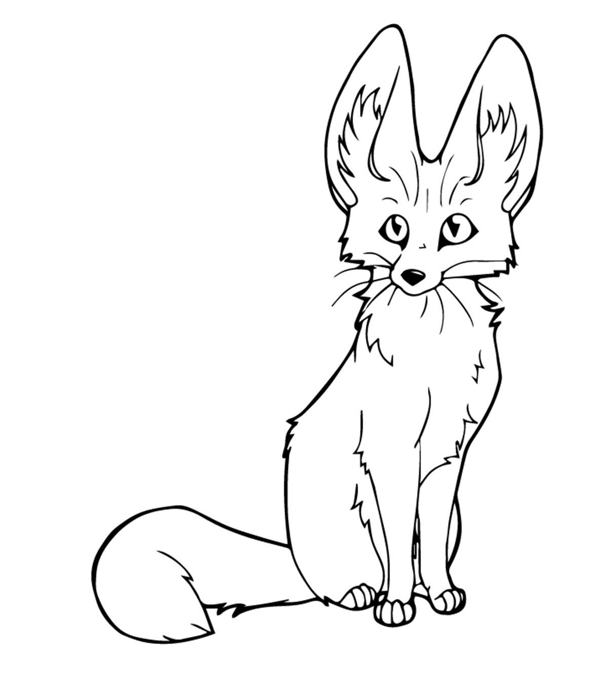 Tranh tô màu con cáo cute