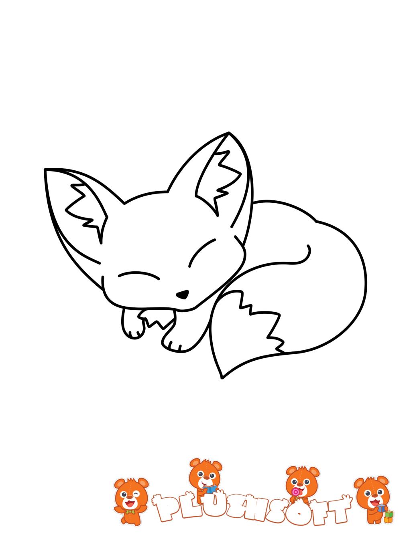 Tranh tô màu con cáo đang ngủ