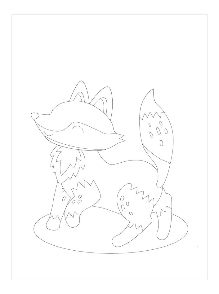 Tranh tô màu con cáo hạnh phúc