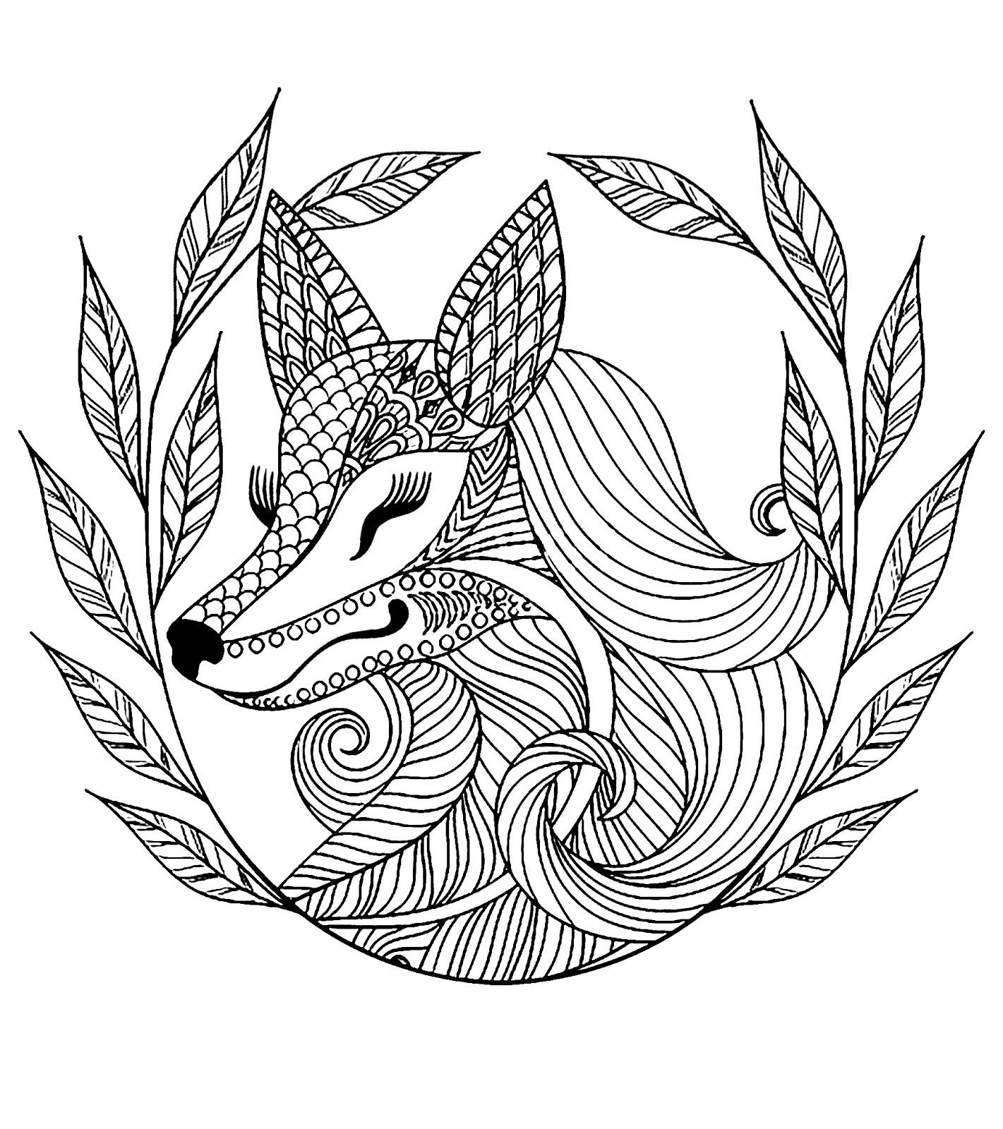 Tranh tô màu con cáo họa tiết
