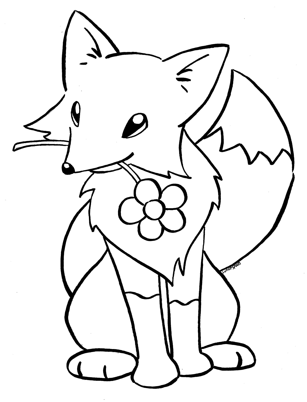 Tranh tô màu con cáo ngậm bông hoa trong miệng