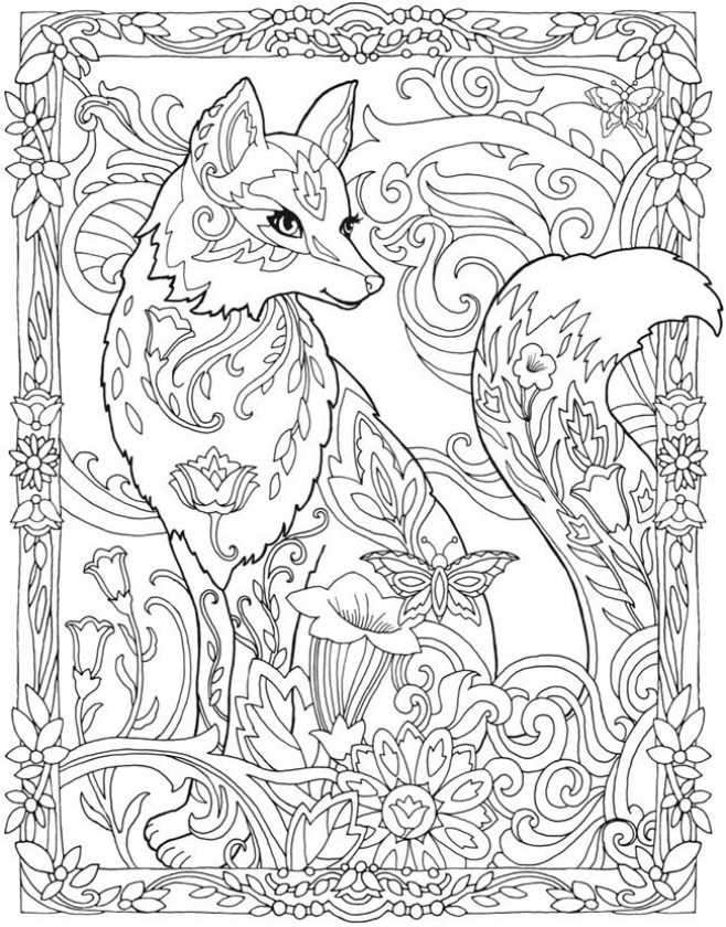 Tranh tô màu con cáo nhiều họa tiết cực đẹp