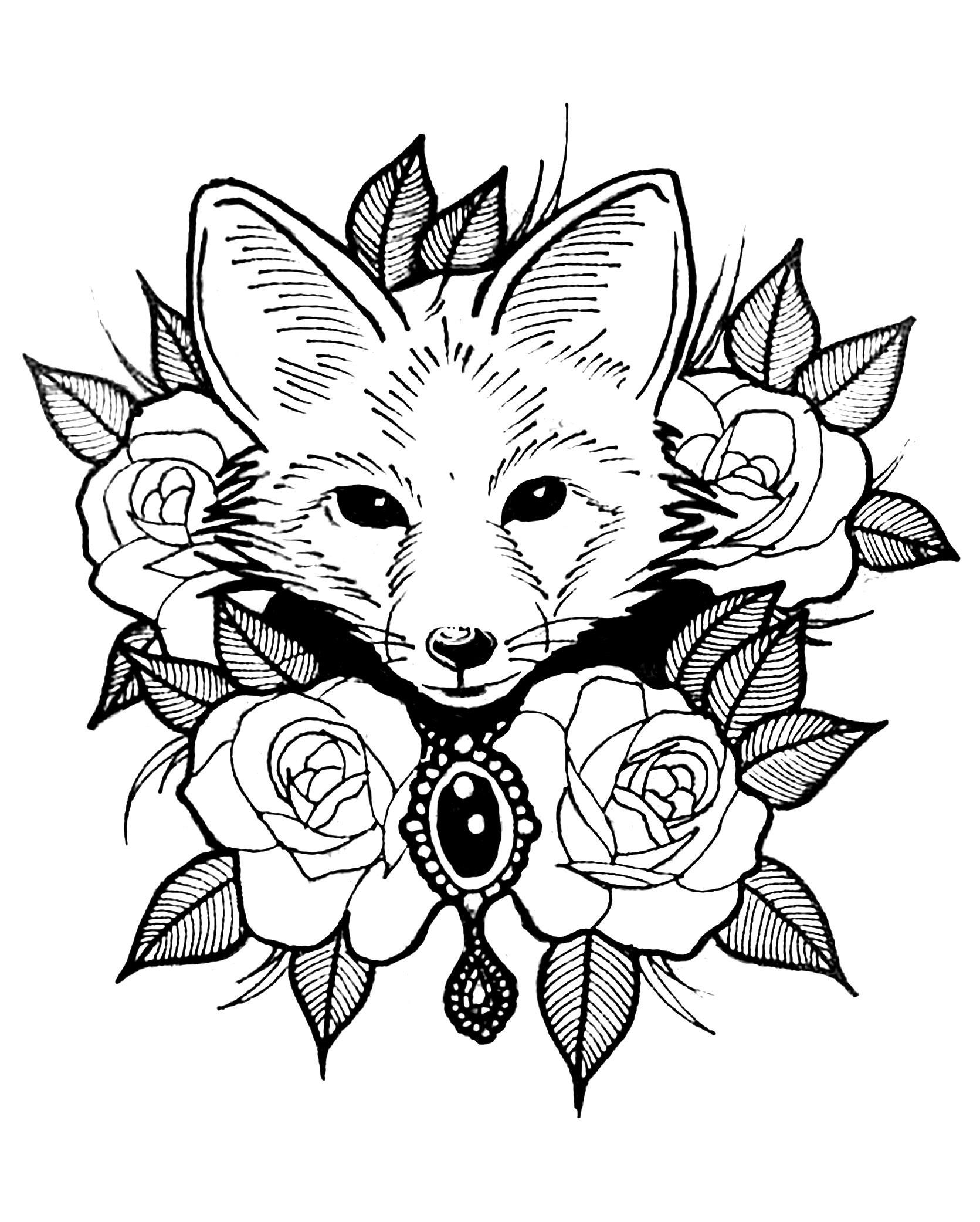 Tranh tô màu con cáo và hoa hồng