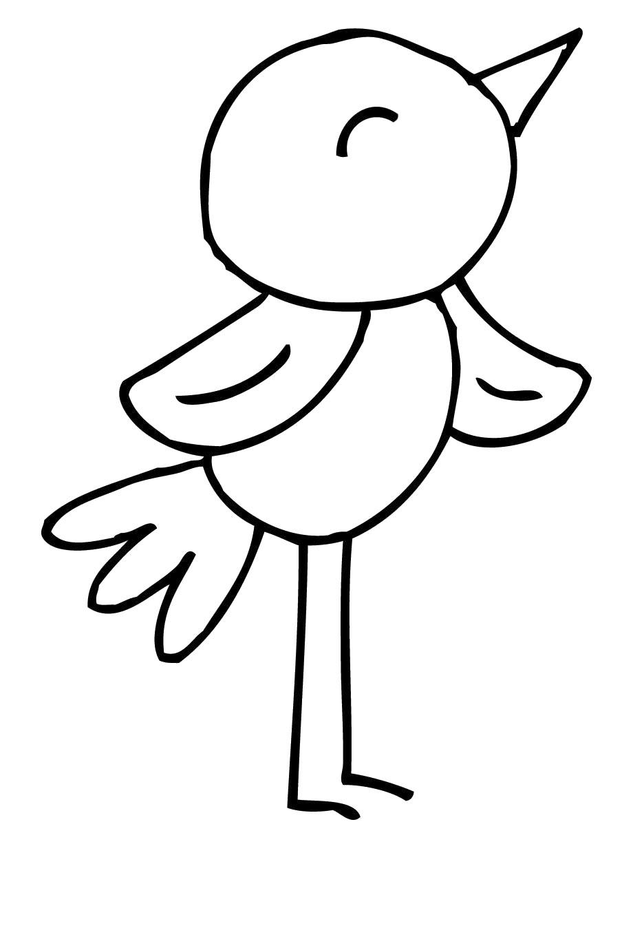 Hình con chim đơn giản tô màu cho bé