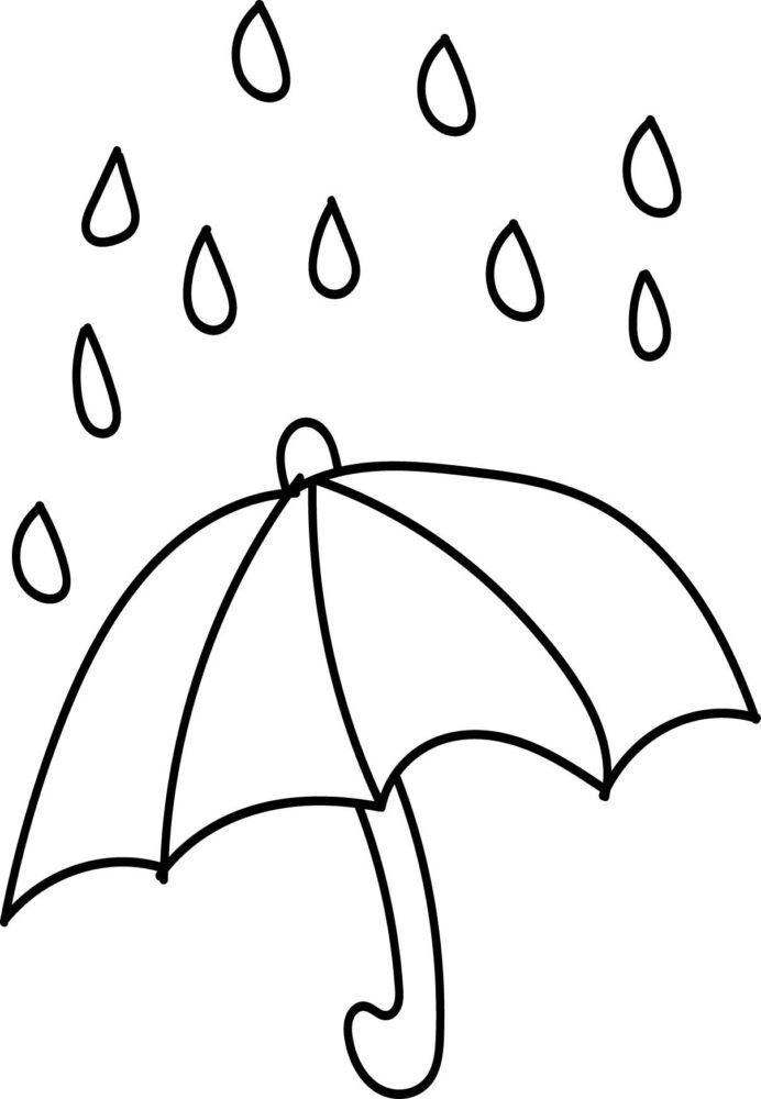 Hình tô màu cái ô đơn giản