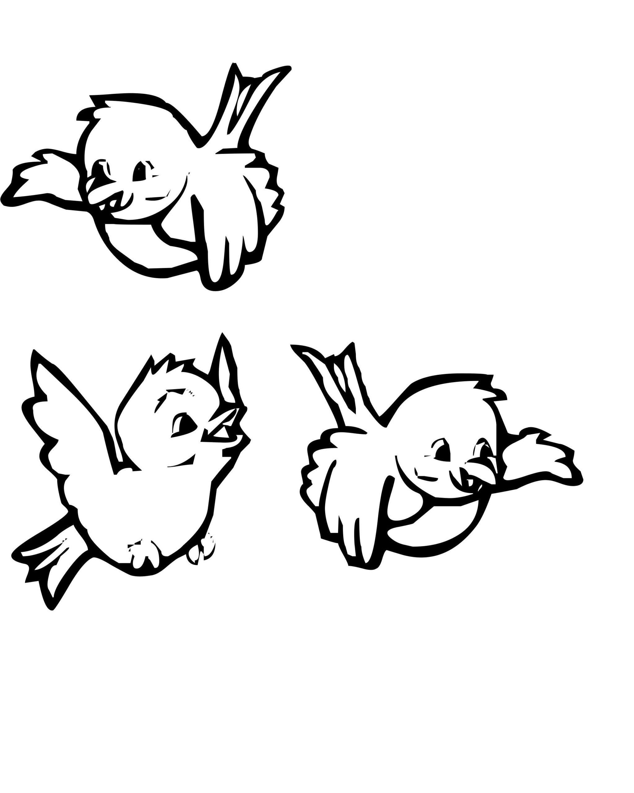 Tranh tô màu ba chú chim