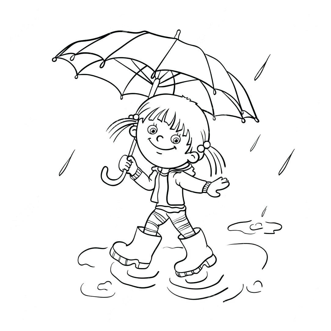 Tranh tô màu bé gái che ô đi dưới mưa
