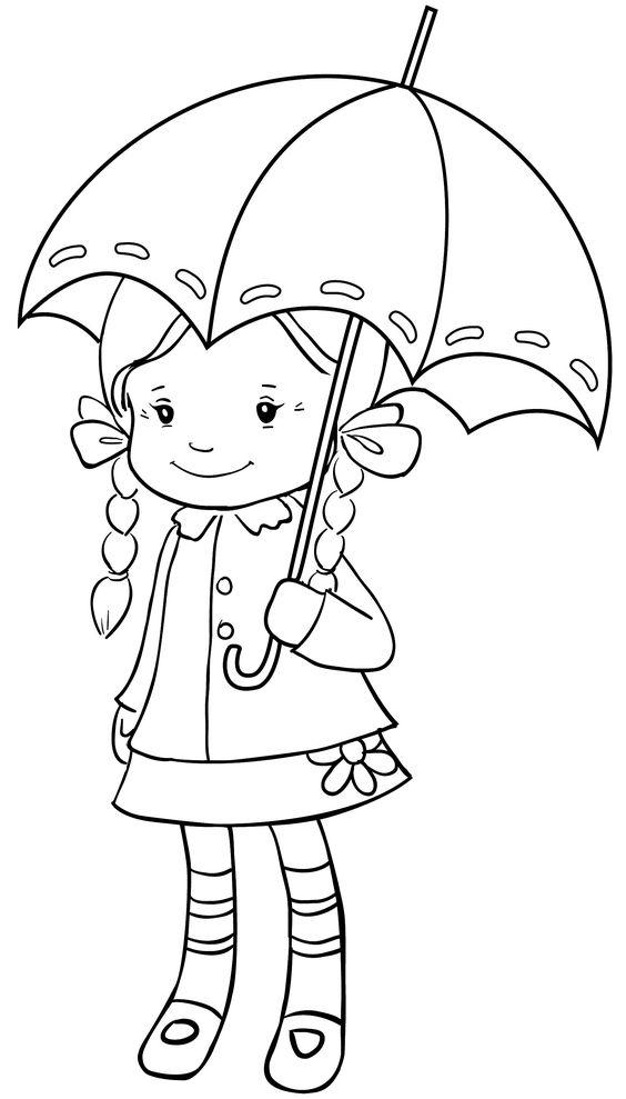 Tranh tô màu bé gái và cái ô