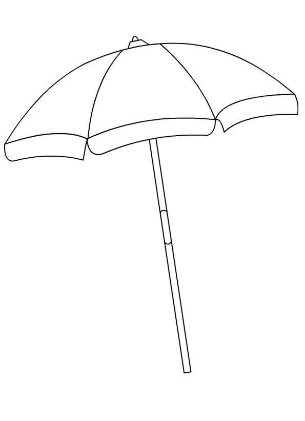 Tranh tô màu cái ô che trên bãi biển