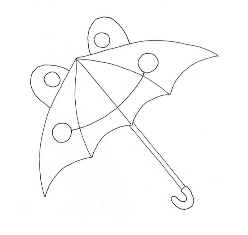 Tranh tô màu cái ô cute