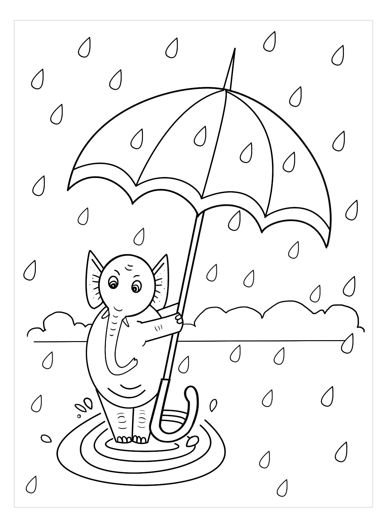 Tranh tô màu cái ô đáng yêu