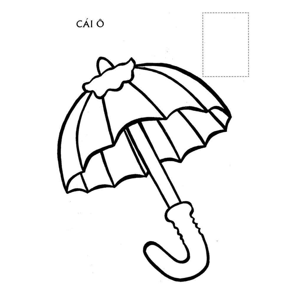 Tranh tô màu cái ô dễ thương