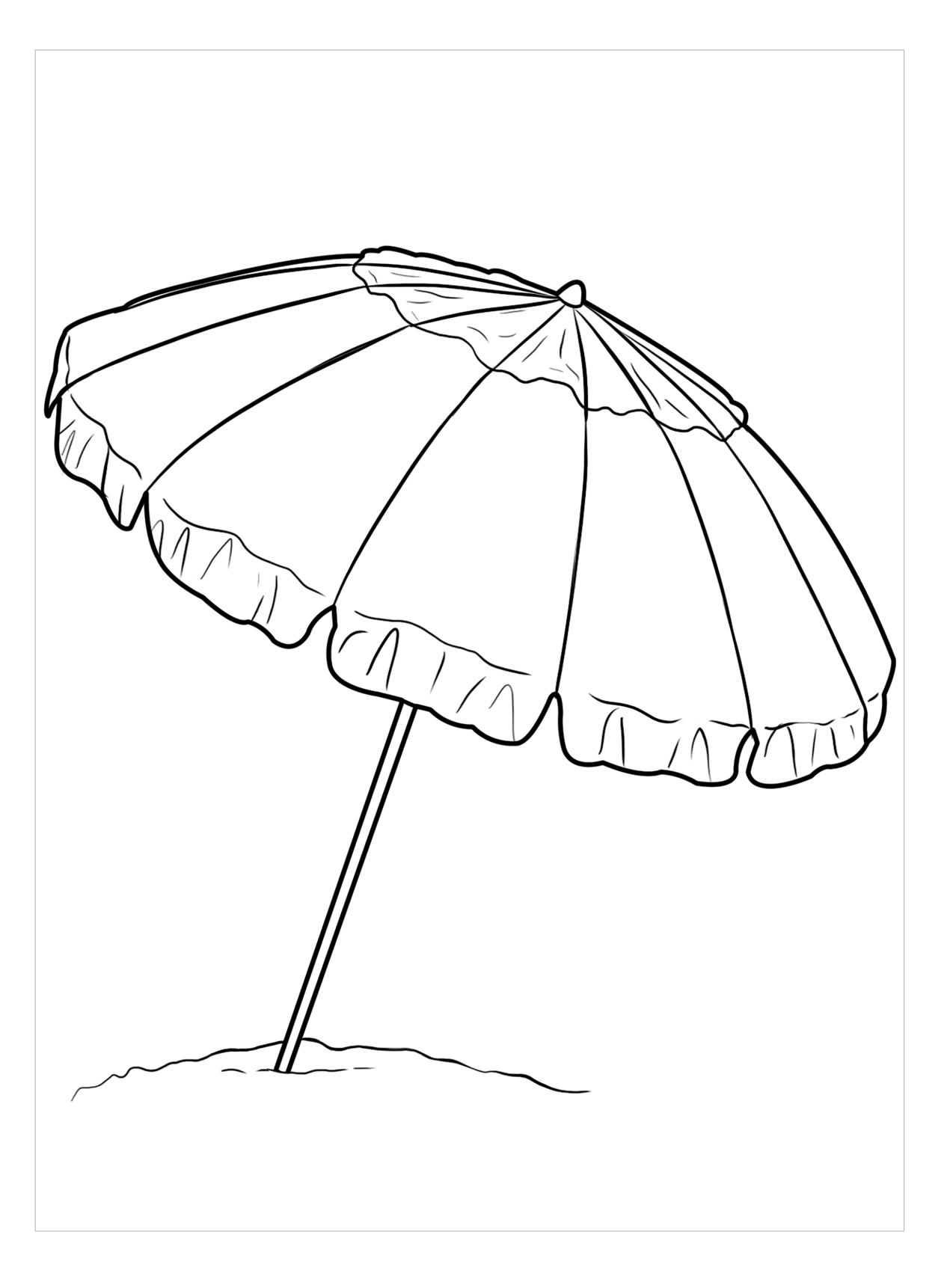 Tranh tô màu chiếc ô bãi biển