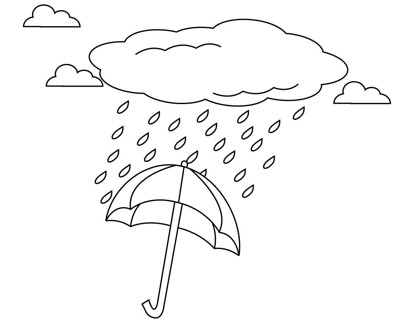 Tranh tô màu chiếc ô che mưa