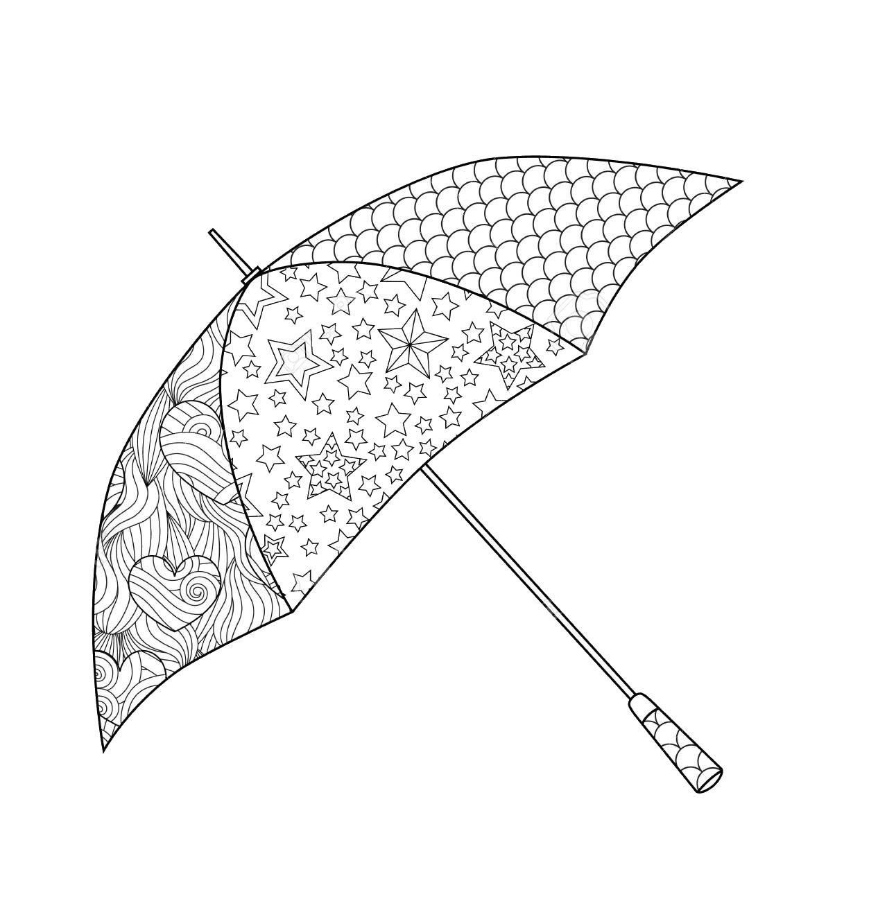 Tranh tô màu chiếc ô đẹp, độc đáo