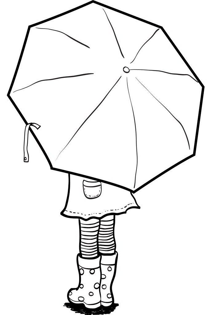 Tranh tô màu cô gái cầm ô đẹp