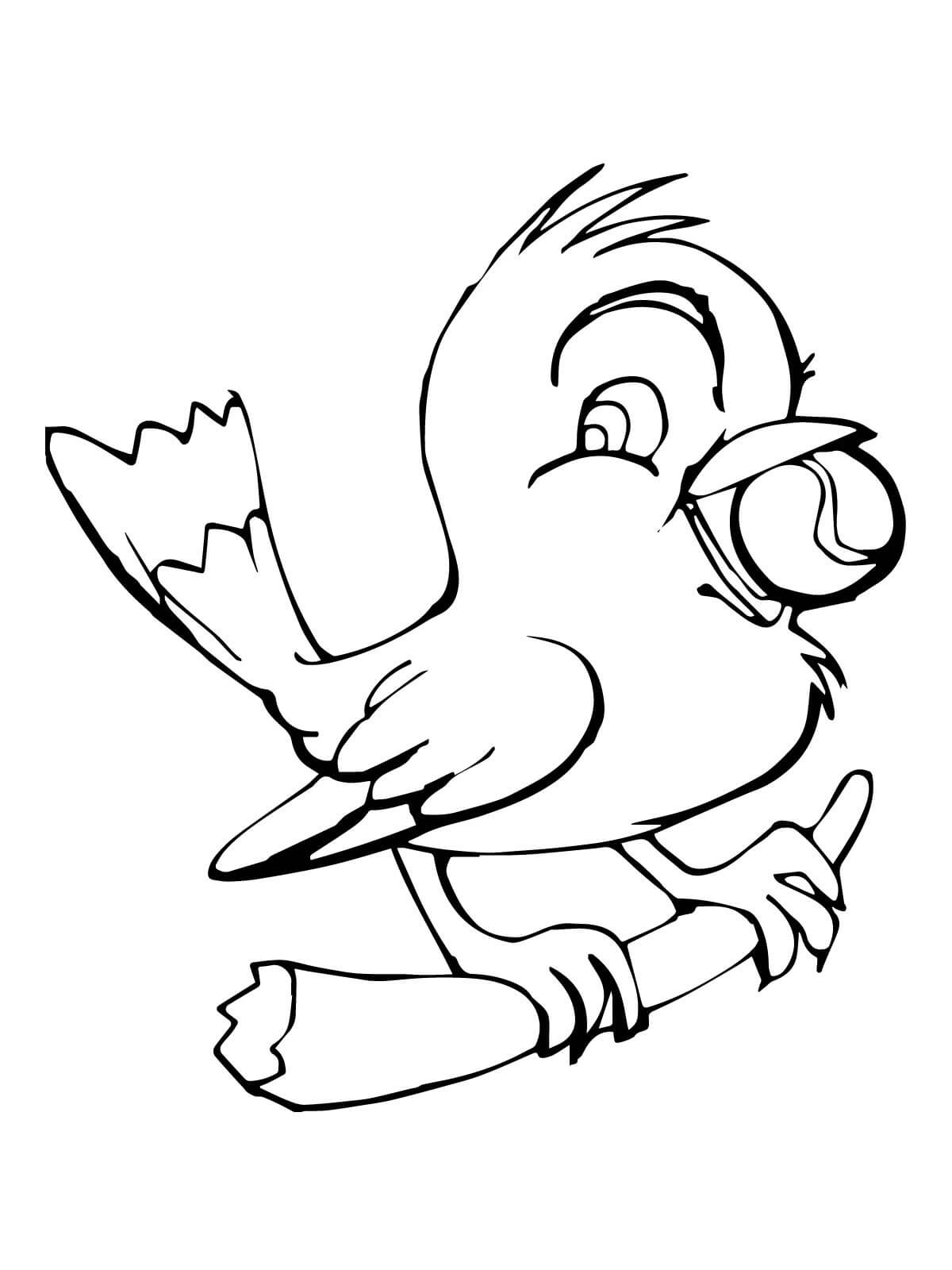 Tranh tô màu con chim ngậm quả bóng