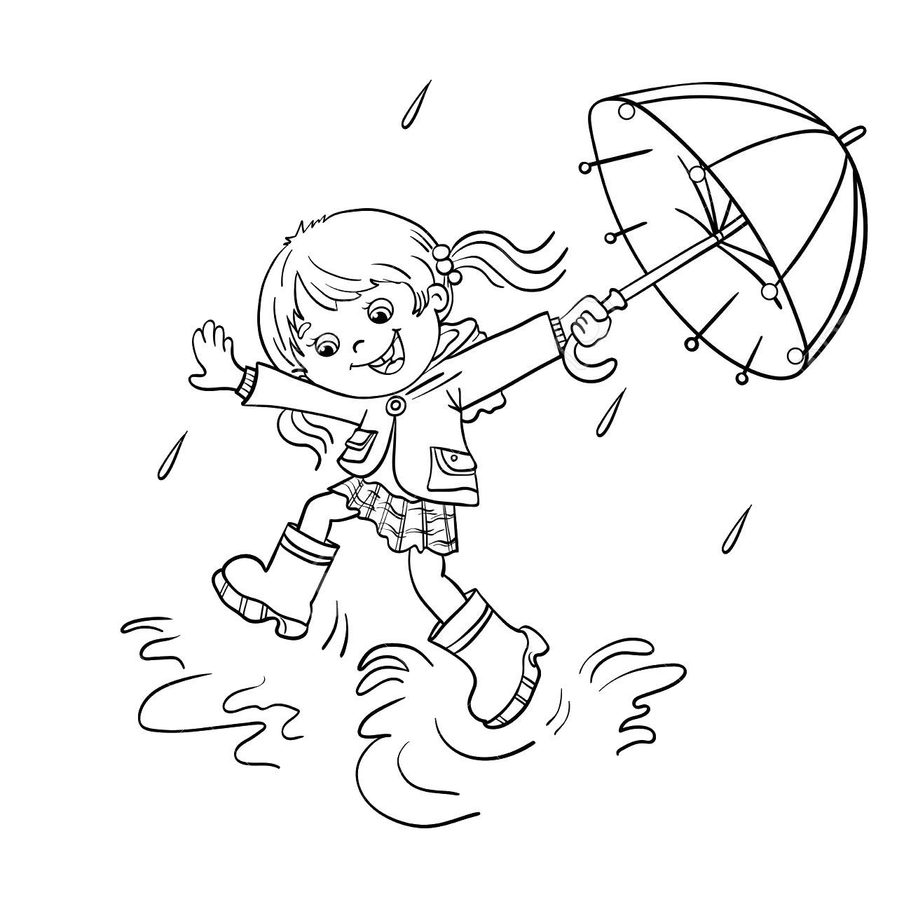 Tranh tô màu em bé và chiếc ô