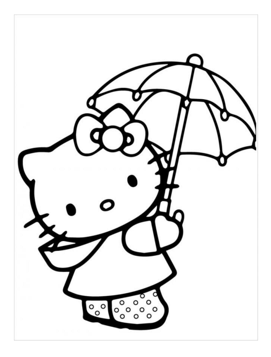 Tranh tô màu mèo Hello Kitty che ô