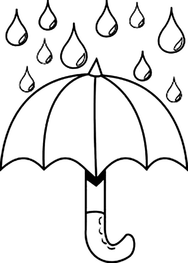 Tranh tô màu nước mưa rơi trên ô