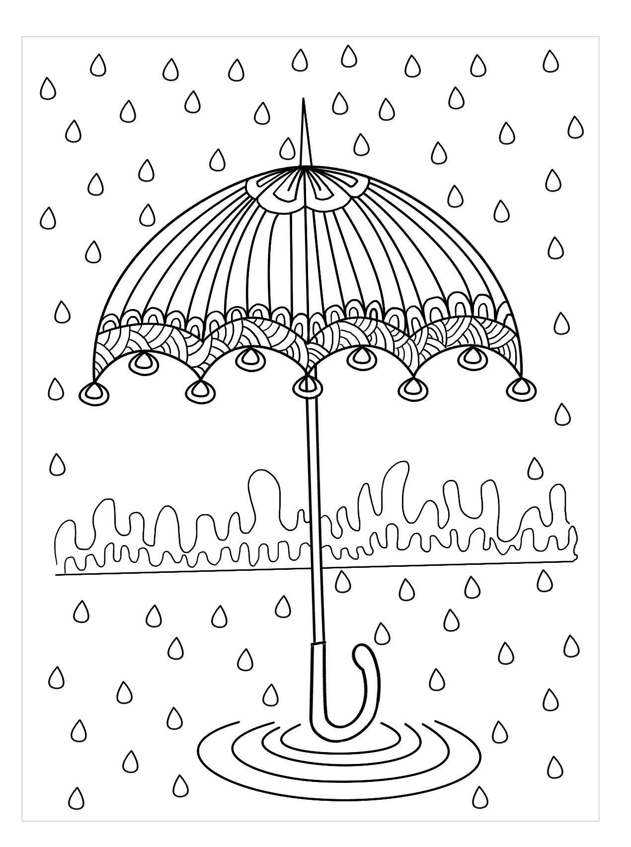 Tranh tô màu ô che mưa