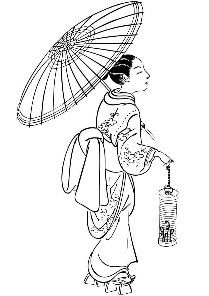 Tranh tô màu phụ nữ Nhật Bản và chiếc ô truyền thống