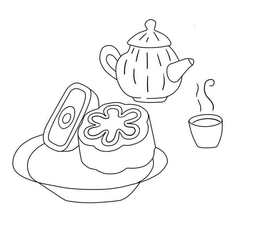 Tranh tô màu bánh trung thu và trà