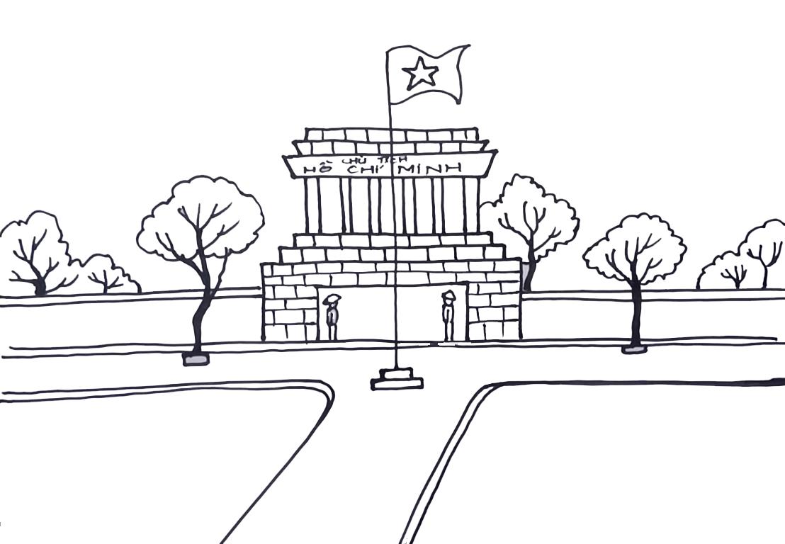 Tranh tô màu phong cảnh lăng Chủ tịch Hồ Chí Minh