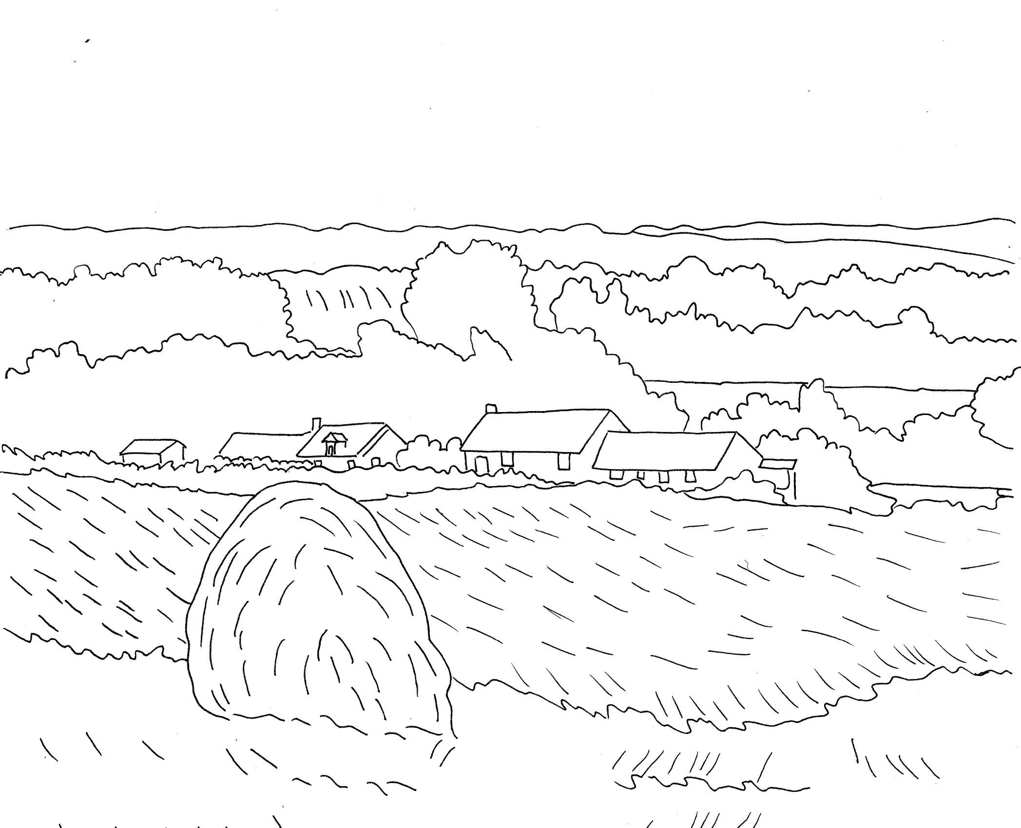 Tranh tô màu phong cảnh làng quê với cánh đồng lúa chín
