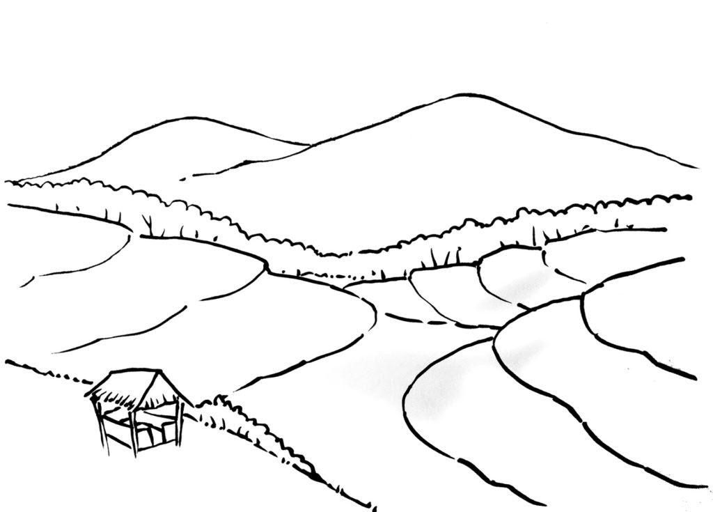 Tranh tô màu phong cảnh quê hương miền núi
