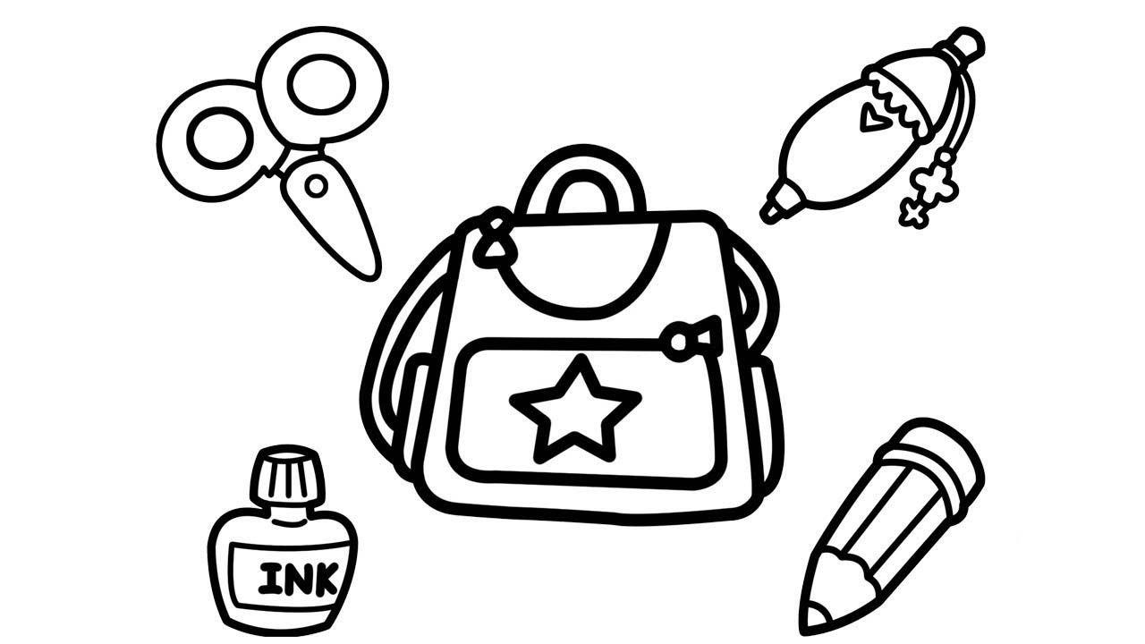 Tranh tô màu cái cặp và một số đồ dùng học tập