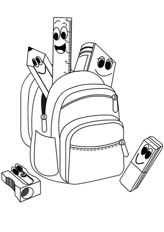 Tranh tô màu chiếc cặp và dụng cụ học tập