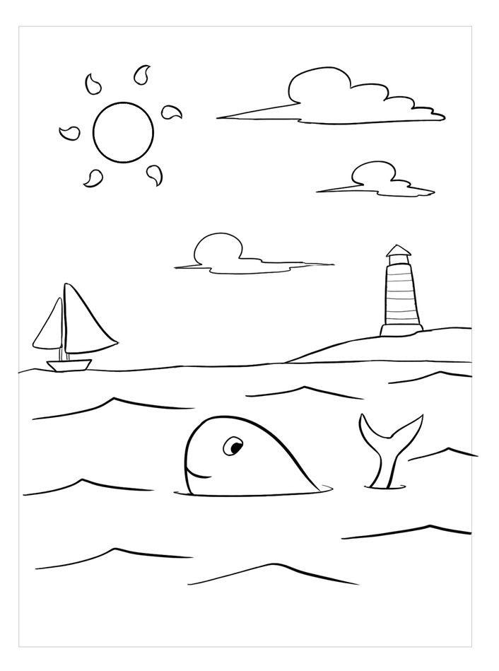 Hình tập tô cho bé chủ đề cảnh biển