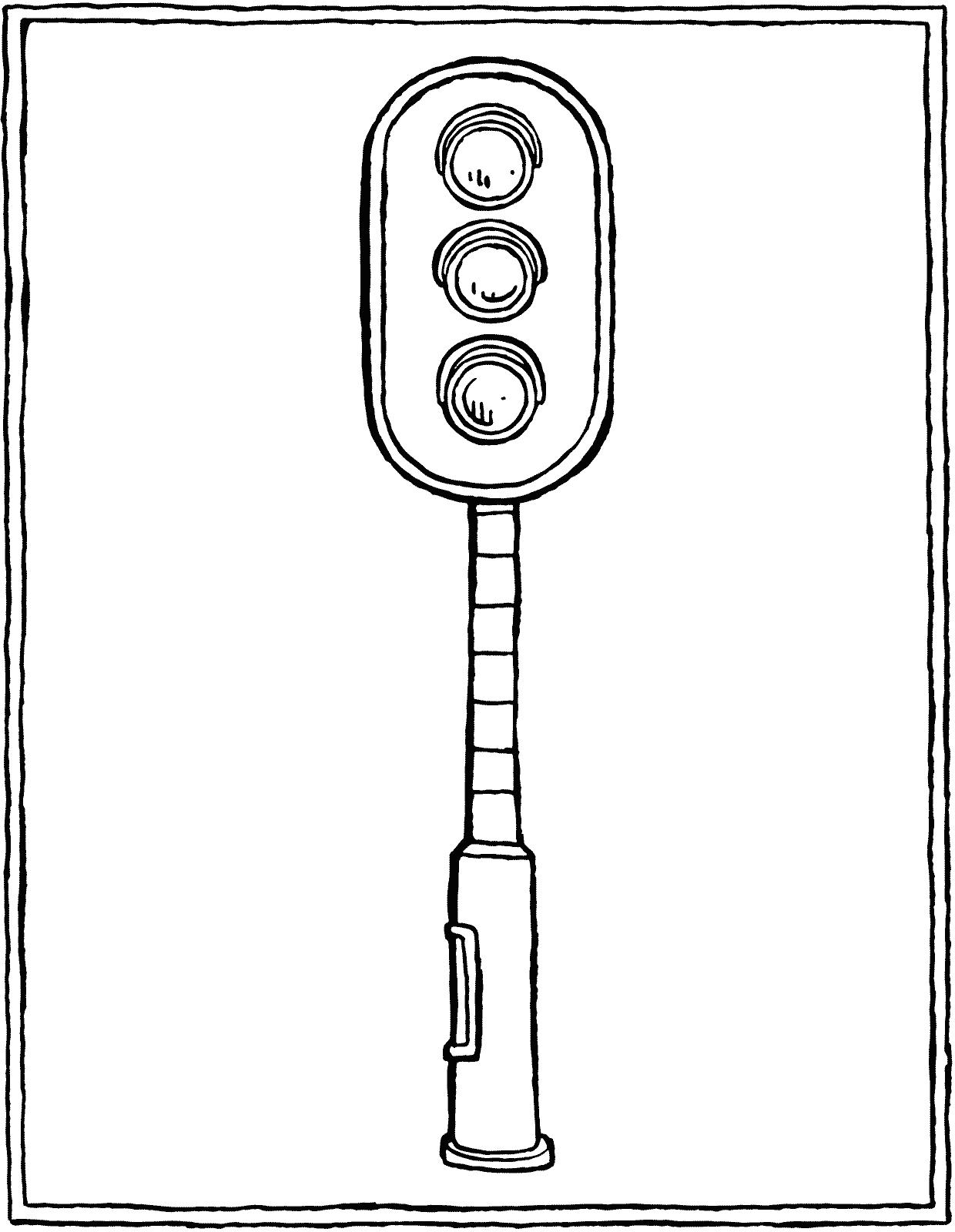 Hình tô màu cột đèn giao thông