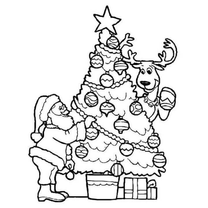 Hình tô màu trang trí cây thông Noel