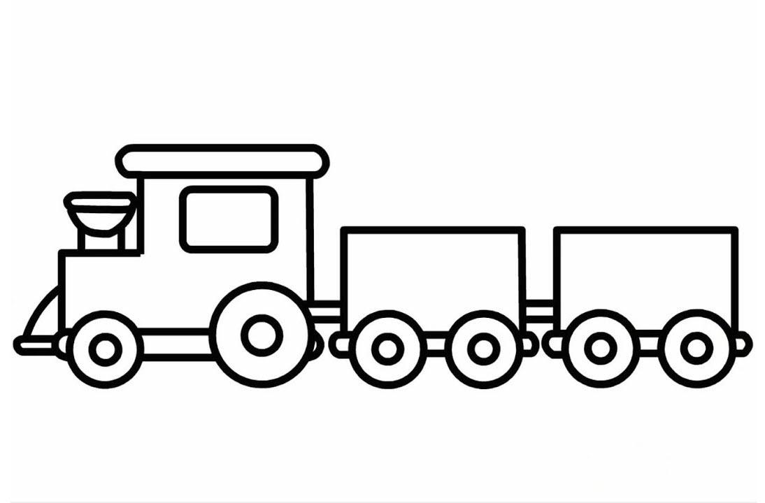 Hình tô màu xe lửa đơn giản
