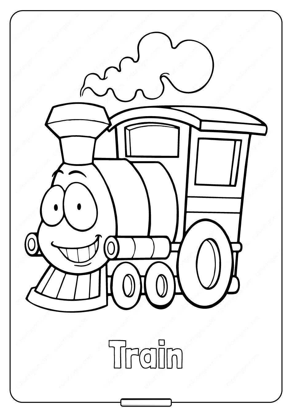 Hình tô màu xe lửa vui vẻ