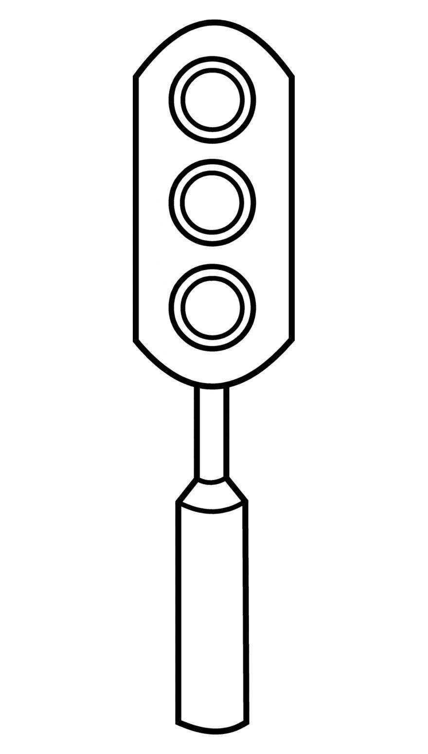 Tranh đèn giao thông chưa tô màu