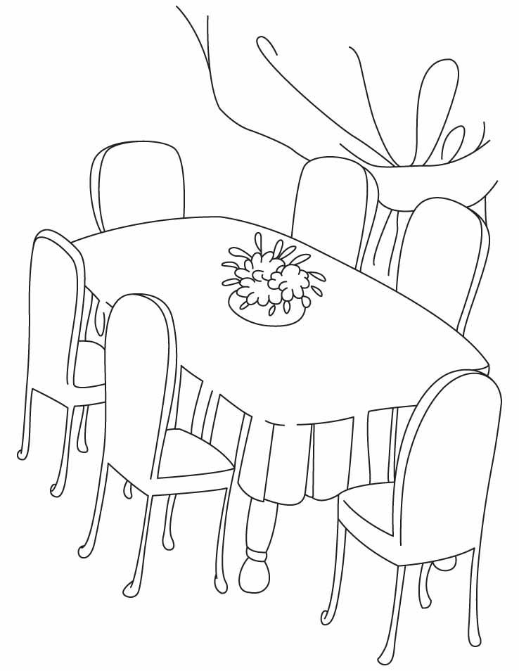 Tranh tô màu bàn ăn đẹp
