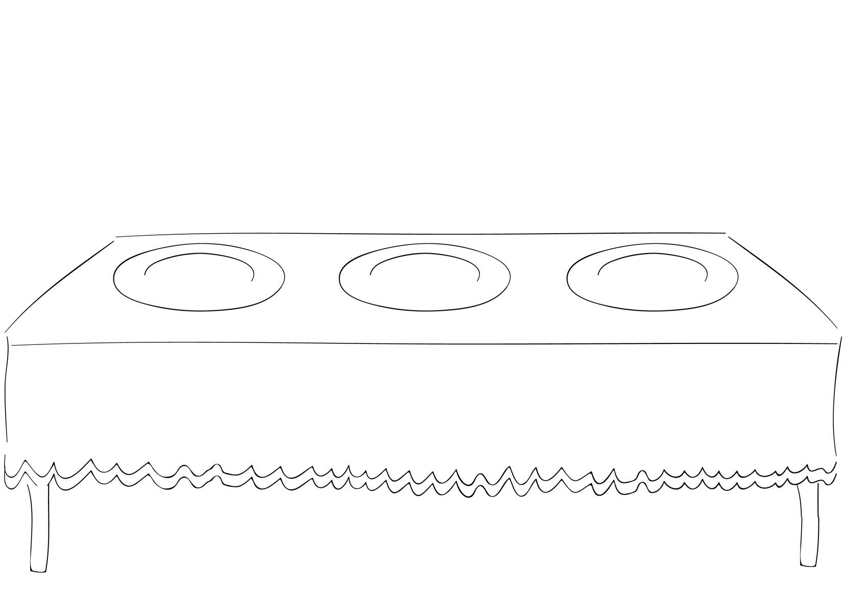 Tranh tô màu bàn ăn đơn giản
