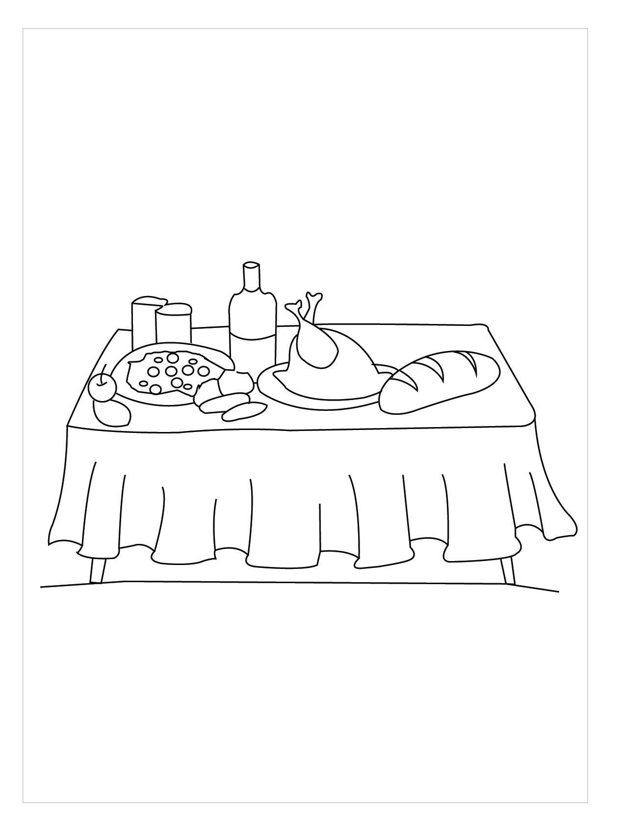 Tranh tô màu bàn ăn trong gia đình