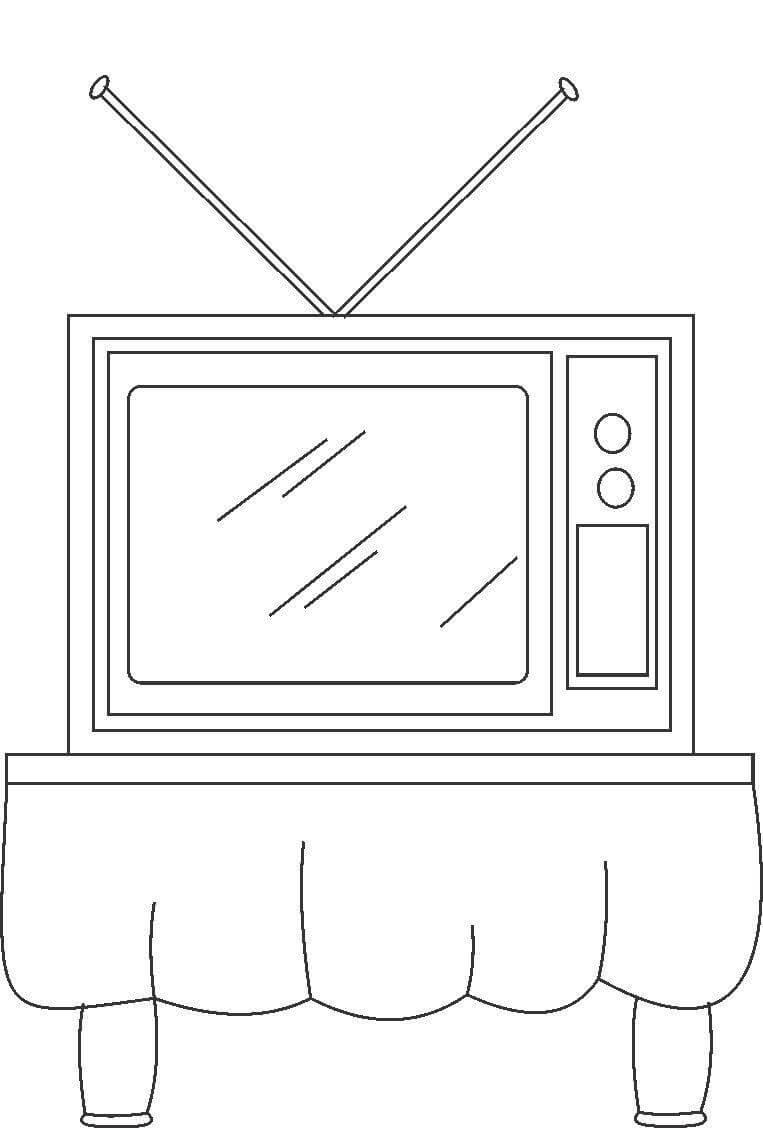 Tranh tô màu bàn để tivi