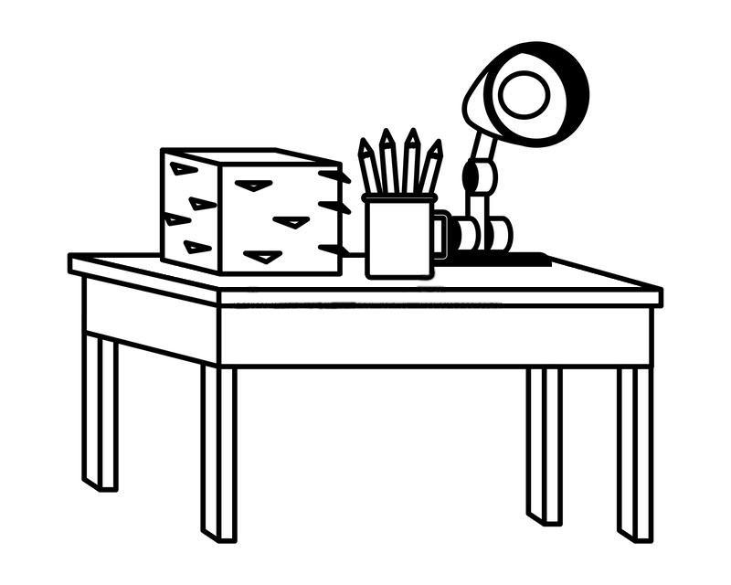 Tranh tô màu bàn học cho bé
