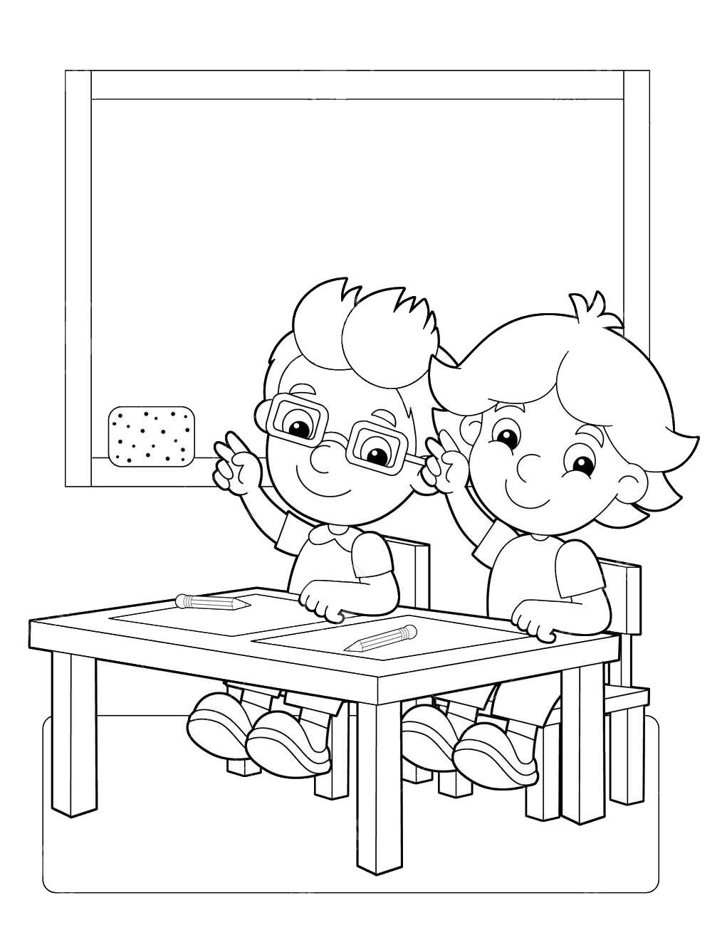Tranh tô màu bàn học ở trường