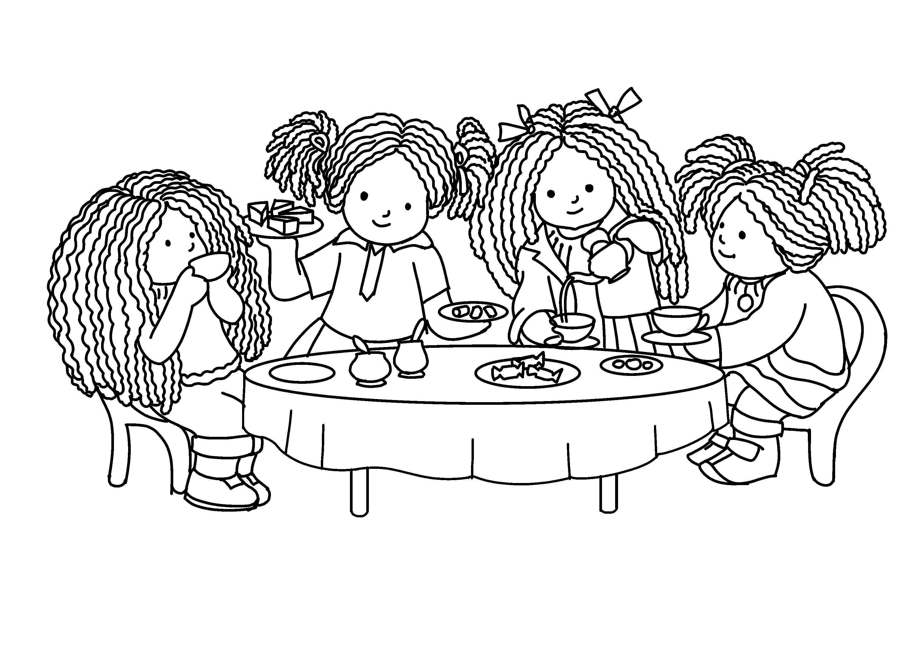 Tranh tô màu bàn tiệc đẹp